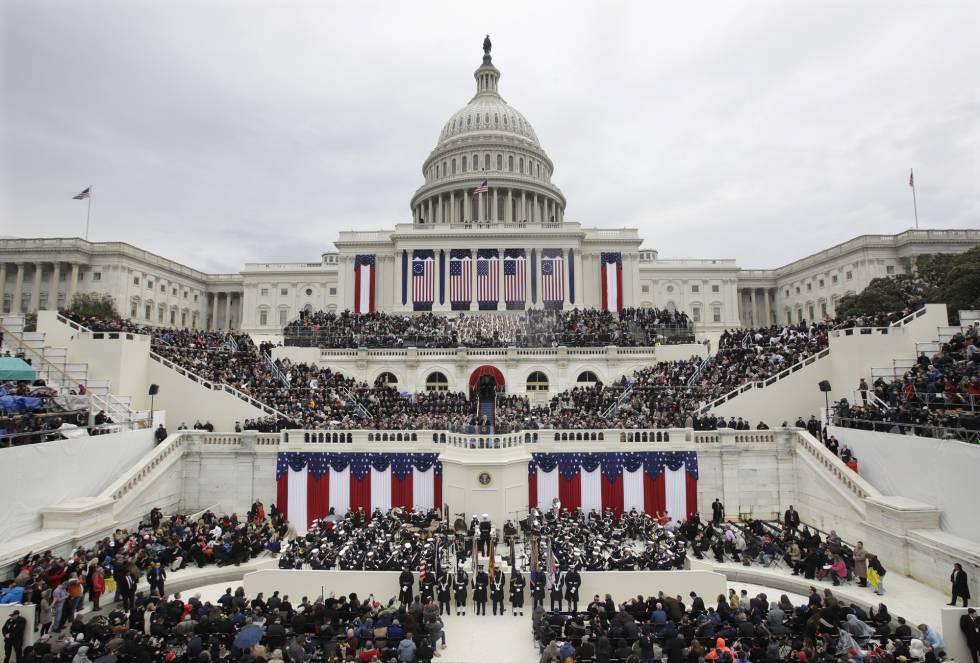 O presidente Donald Trump faz seu discurso de posse no Capitólio.