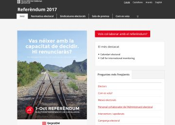 Un juez cierra la web de la Generalitat sobre el referéndum