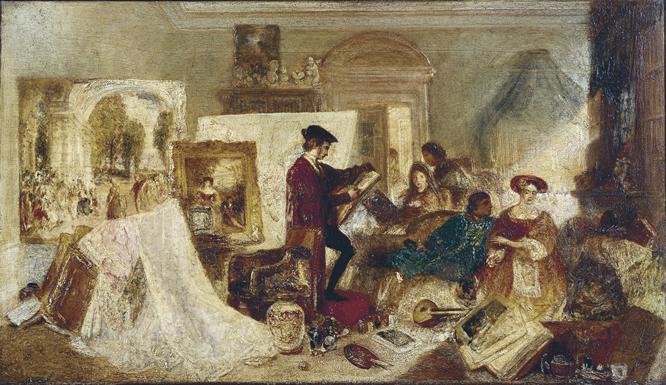 En la imágen se aprecia un óleo sobre tabla titulado El estudio de Watteau por las reglas de Fresnoy pintado por Joseph Mallord William Turner en 1831