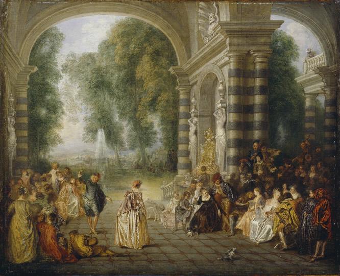 Óleo sobre lienzo Les Plaisirs du Bal (Le Bal Champêtre) Watteau 1717. DULWICH PICTURE GALLERY