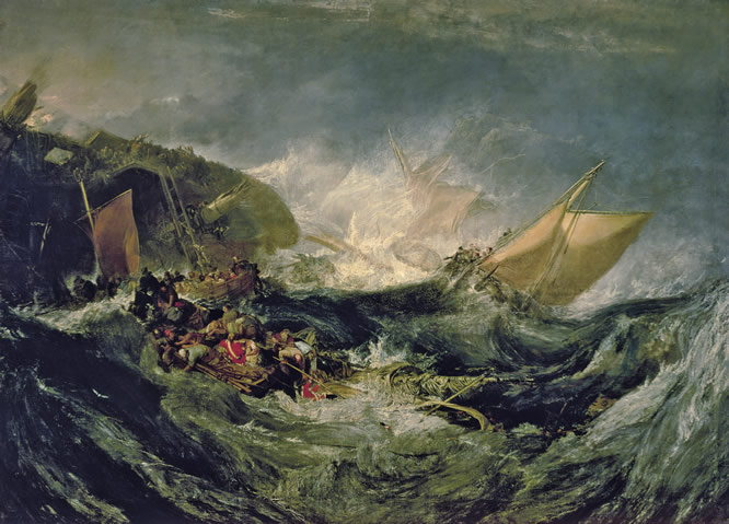 'Naufragio de un carguero', por el pintor londinenese Joseph Mallord William Turner. Óleo sobre lienzo (172.7 x 241.2 cm) creado en 1805-1810. FUNDAÇAO CALOUSTE GULBENKIA