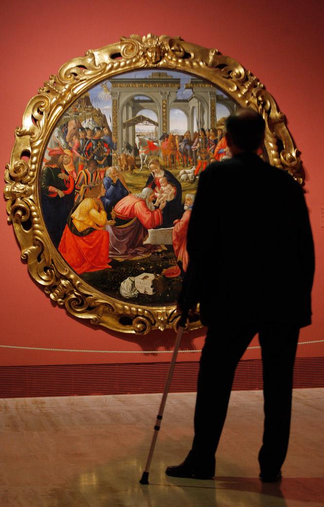 Fotografía de la Adoración de los Reyes en la exposición Ghirlandaio y el Renacimiento en Florencia.
