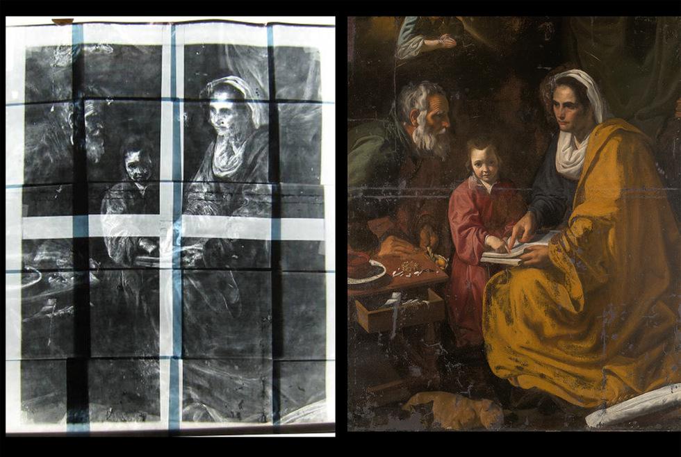 La obra La educación de la Virgen descubierta en el sótano de la Universidad de Yale y atribuida a la etapa sevillana de Velázquez. La obra, que será restaurada debido a su estado de gran deterioro, plantea un debate de calado internacional sobre la autoría definitiva del lienzo.-