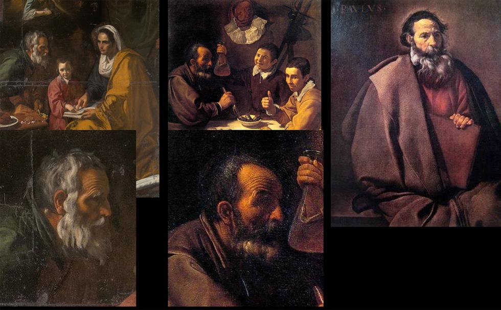 Ancianos. Al igual que ocurre con el tratamiento de los niños, en los retratos de la madurez también hay similitudes entre la obra hallada ahora y otras anteriores de Velázquez. Abajo a la izquierda detalle del personaje de San Joaquín en La educación de la Virgen. Junto a él uno de los personajes de El almuerzo y a la derecha San Pablo.