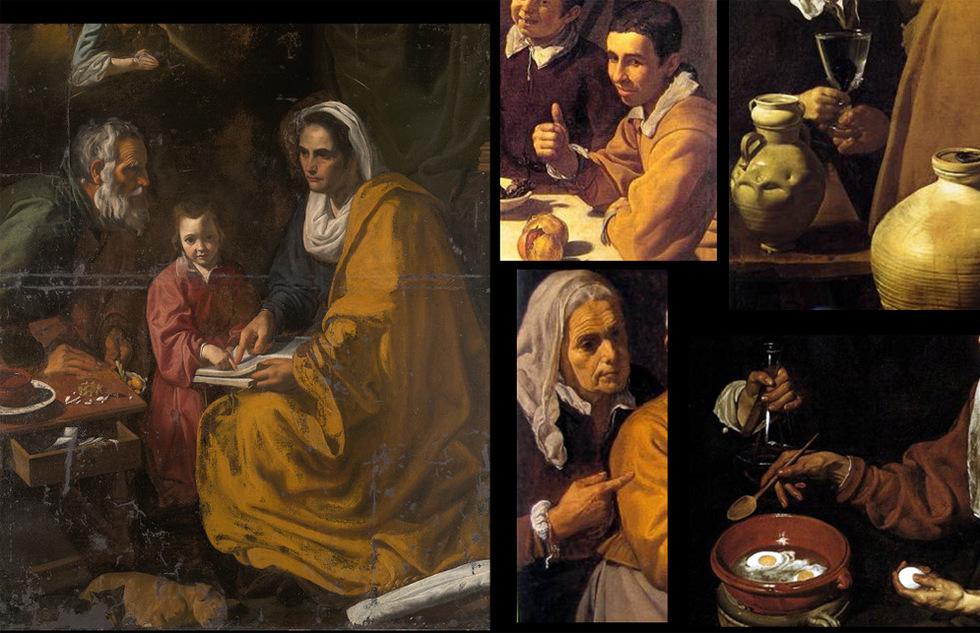 Detalles. El cuadro hallado en Yale y atribuido a Velázquez, La educación de la Virgen, junto a detalles de cuatro obras del artistas, en el sentido de las agujas del reloj, El aguador de Sevilla, Vieja friendo huevos, Cristo en casa de Marta y María y El almuerzo.