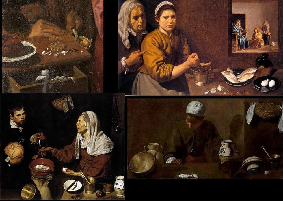 Estilo de vida. La vida diaria tratada por Velázquez en cuatro de sus obras. Arriba a la derecha detalle de La educación de la Virgen junto a Cristo en la casa de Marta y María. En la parte inferior a la derecha Vieja friendo huevos y La Mulata.