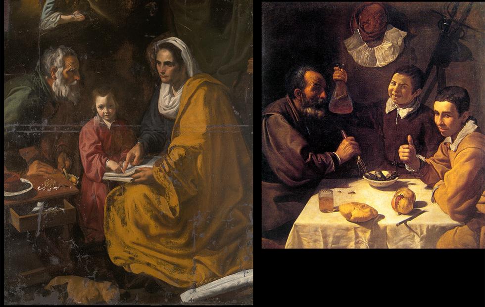 Comparación. La obra encontrada en el sótano de la Universidad de Yale, La educación de la Virgen, junto a la pintura El almuerzo, de la época sevillana de Velázquez