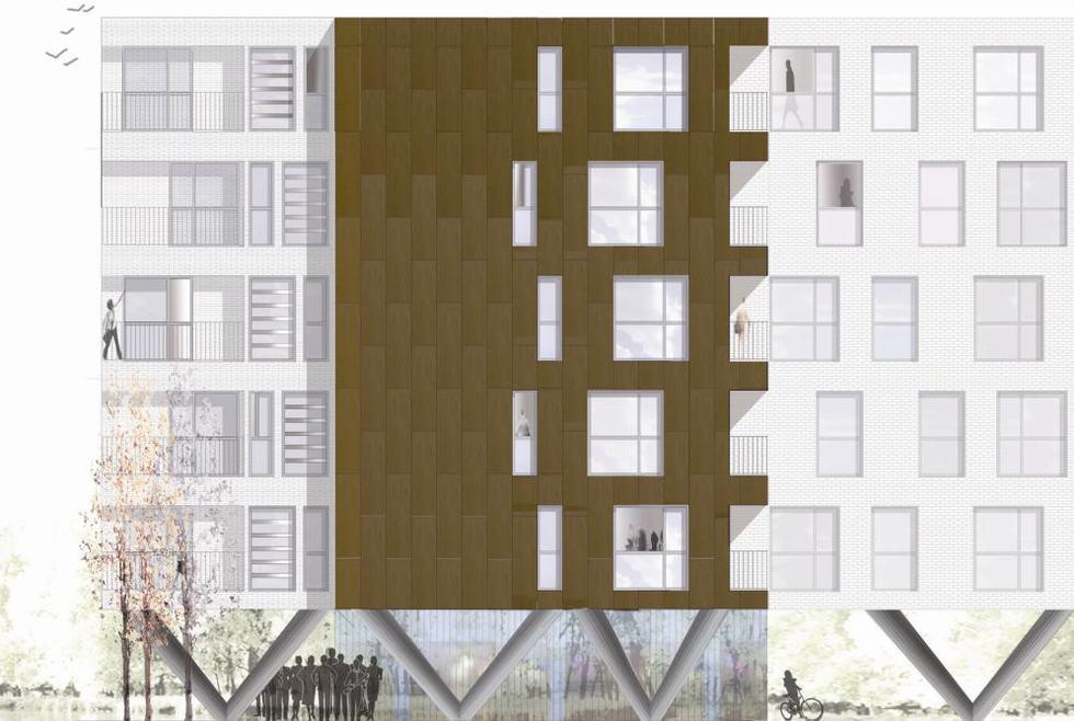 Este diseño de viviendas sociales en el Cañaveral es uno de los nuevos PAUs (Planes de Actuación Urbanística de Madrid). Presentado por el estudio Mingo Arquitectos, participirá en la exposición de Construtec sobre el Madrid del futuro. También en este proyecto se piensa en edificar desde el techo.- ESTUDIO MINGO ARQUITECTOS