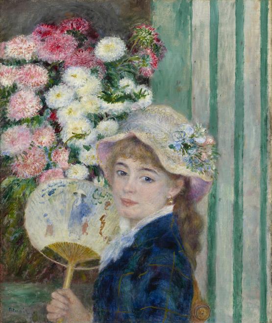 Muchacha con abanico. Las pinturas coleccionadas por Sterling y Francine Clark permiten recorrer algunas de las etapas más destacadas de la trayectoria de Renoir entre 1874 y 1900. En la imagen Muchacha con abanico, óleo sobre lienzo de 1879. STERLING AND FRANCINE CLARK ART INSTITUT
