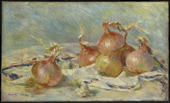 Cebollas. Renoir, que visitó el Museo del Prado en 1892, cultivó los principales géneros : el retrato, la figura femenina, el desnudo, el paisaje, la naturaleza muerta y las flores. En la imagen la obra Cebollas (óleo sobre lienzo, 54,1 x 65.3 cm) de 1883.STERLING AND FRANCINE CLARK ART INSTITUTE