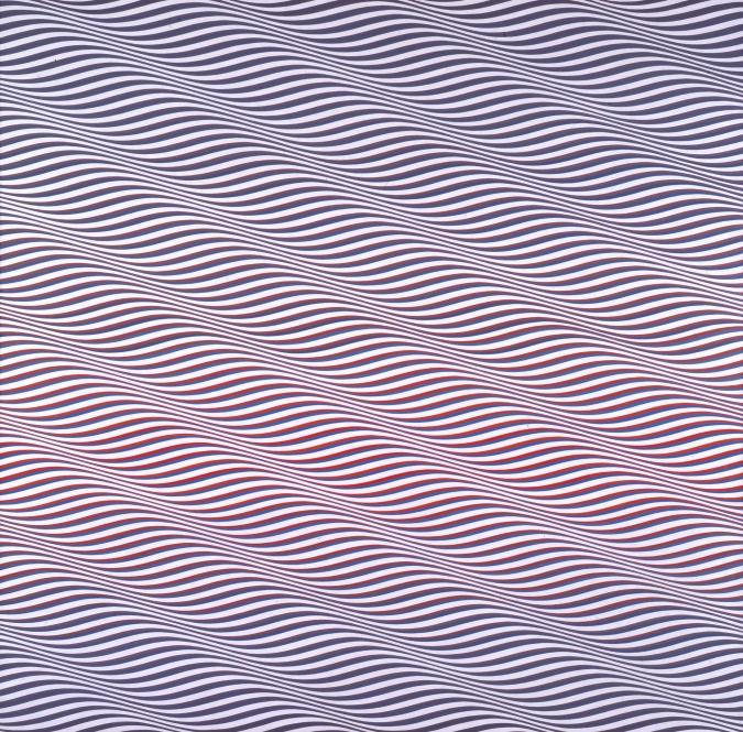 Catarata 3, de Bridget Riley (1967). Es una de las mejores representantes del op art, un estilo que investigaba los efectos dinámicos de los fenómenos òpticos. Cada vez más reinvindicada por las generaciones actuales, Riley representó a su país en la Biennal de Venècia de 1968, en donde consguió el premio internacional de pintura. Esta obra participó en aquella bienal y es una de las primeras en las que introdujo el color en sus obras.