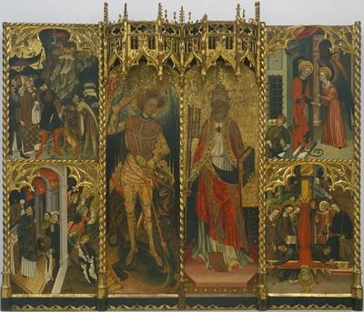 Elementos del retablo de San Miguel y San Pedro de la Seu d'Urgell que se exponen en el MNAC ahora-
