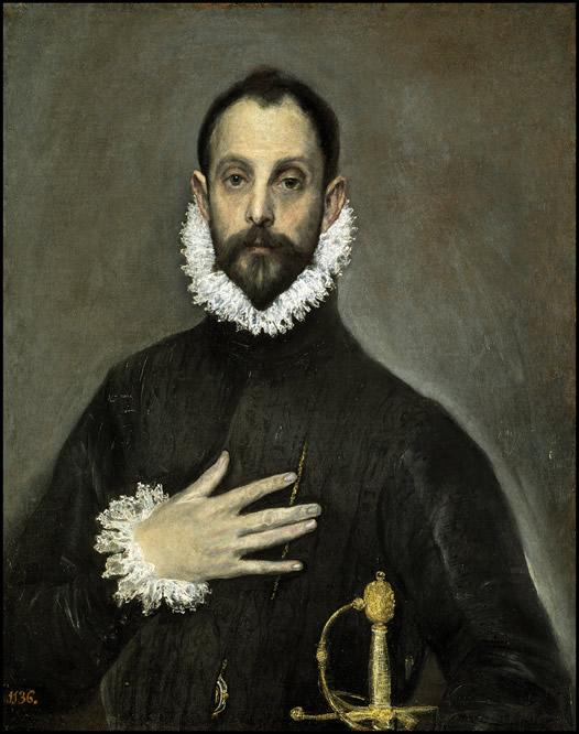 El caballero de la mano en el pecho. El Greco. Óleo sobre lienzo, 82 x 66 cm h. 1580 Madrid, Museo Nacional del Prado