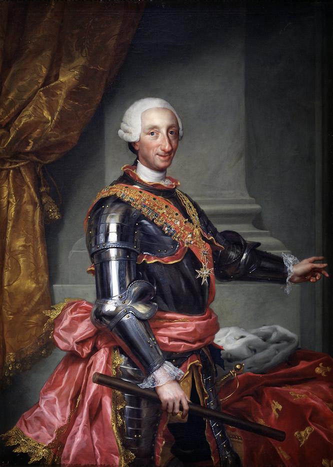 Carlos III. Mengs. Hacia 1761 Óleo sobre lienzo. 151,1 x 109 cm. Madrid, Museo Nacional del Prado