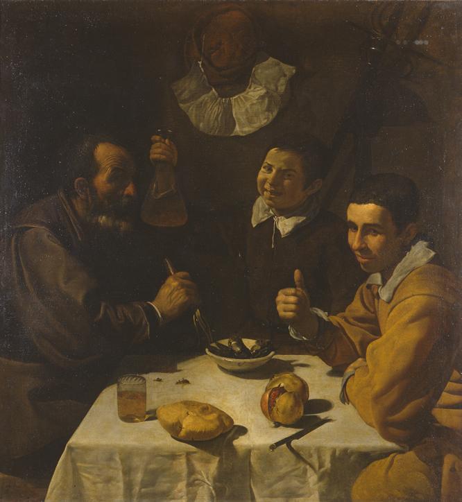 Almuerzo. Diego Velázquez. Óleo sobre lienzo, 108.5 x 102 cm h. 1617 San Petersburgo, State Hermitage Museum