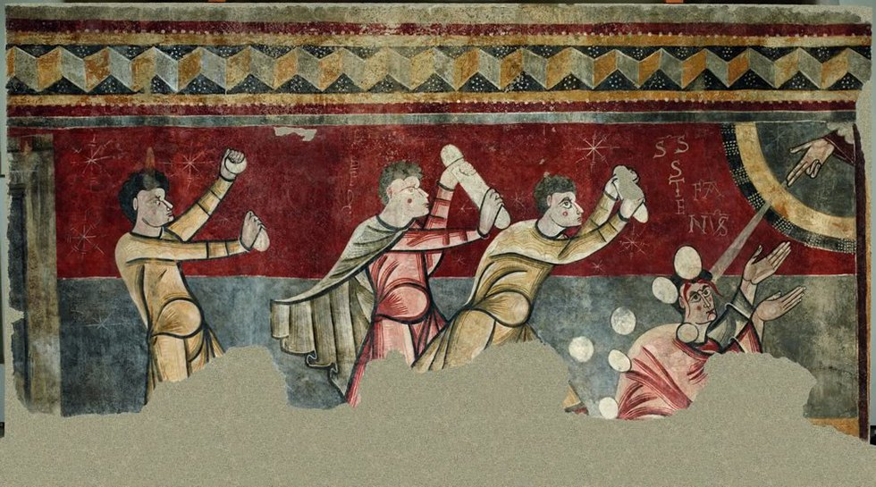 Pinturas de Boí: Lapidación de San Esteban. Ca. 1100 Fresco traspasado a lienzo Iglesia de Sant Joan de Boí (Alta Ribagorça, Lleida). Museu Nacional d'Art de Catalunya. Foto: Fernando Maquieira