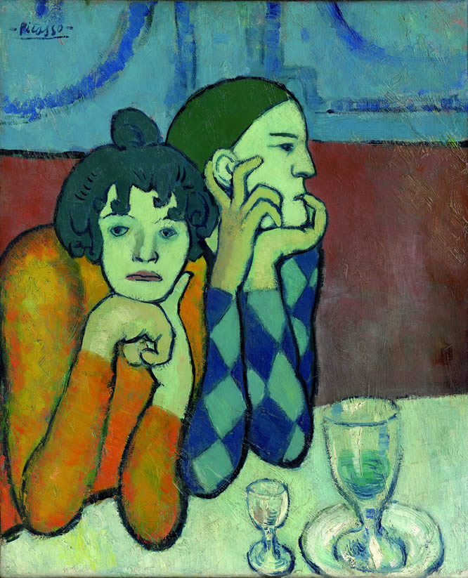 La compañía de Arlequín. Pablo Picasso, The Two Saltimbanques (Harlequin and his Companion) [Les deux saltimbanques (Arlequin etsa compagne)], September-October 1901oil on canvas. Moscow, The State Pushkin Museum of Fine Arts.