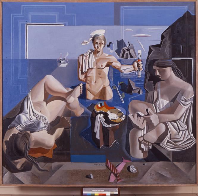 El marinero de Dalí. Salvador Dalí, Neocubist Academy (Composition with Three Figures. The Sailor) [Acadèmia neocubista.(Composició amb tres figures. El marinero)], 1926, oil on canvas, 90 x 200 cm, Museu de Montserrat, Donated by Josefina Cusí, R. N. 201.390