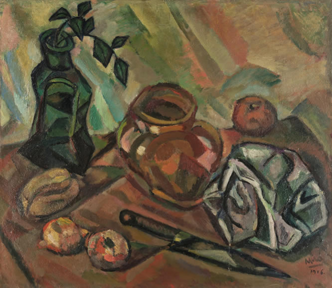 Bodegón con cuchillo. Joan Miró, Still Life with Knife [Nature morte au couteau], 1916. Switzerland, Nahmad Collection.