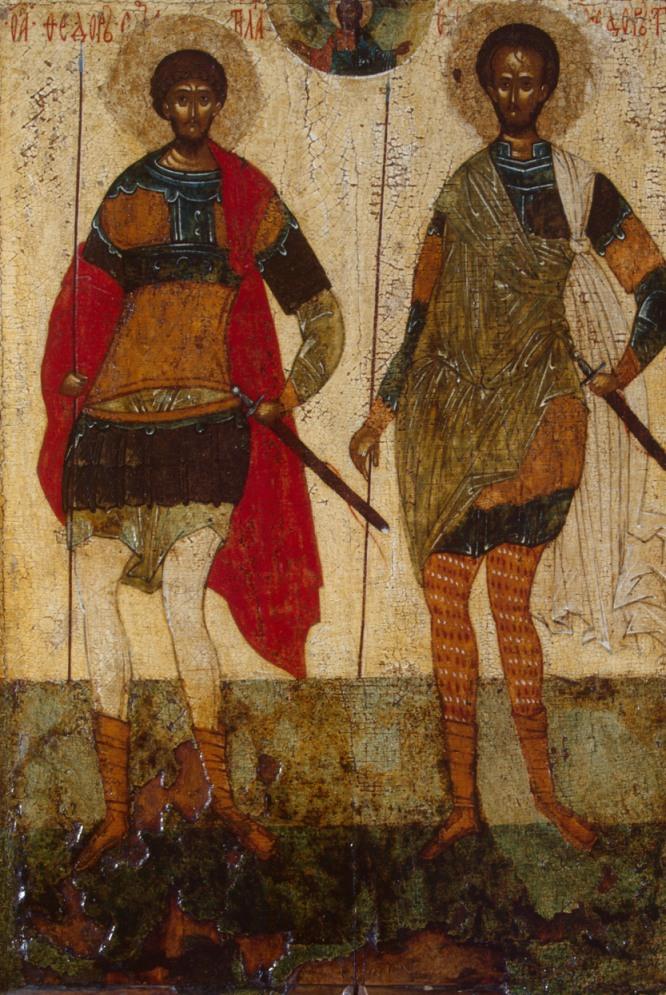 Icono de San Theodore Stratelates y San Theodore de Tyre, Antigua Rusia, Novgorod, siglo XV.-