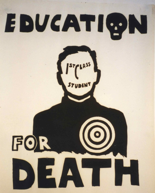 Educar para morir. The Poster Workshop estuvo en funcionamiento hasta finales de 1970, cuando empezaron a surgir imprentas litográficas relativamente asequibles, y otras organizaciones comenzaron a producir carteles a tarifas comerciales más accesibles.
