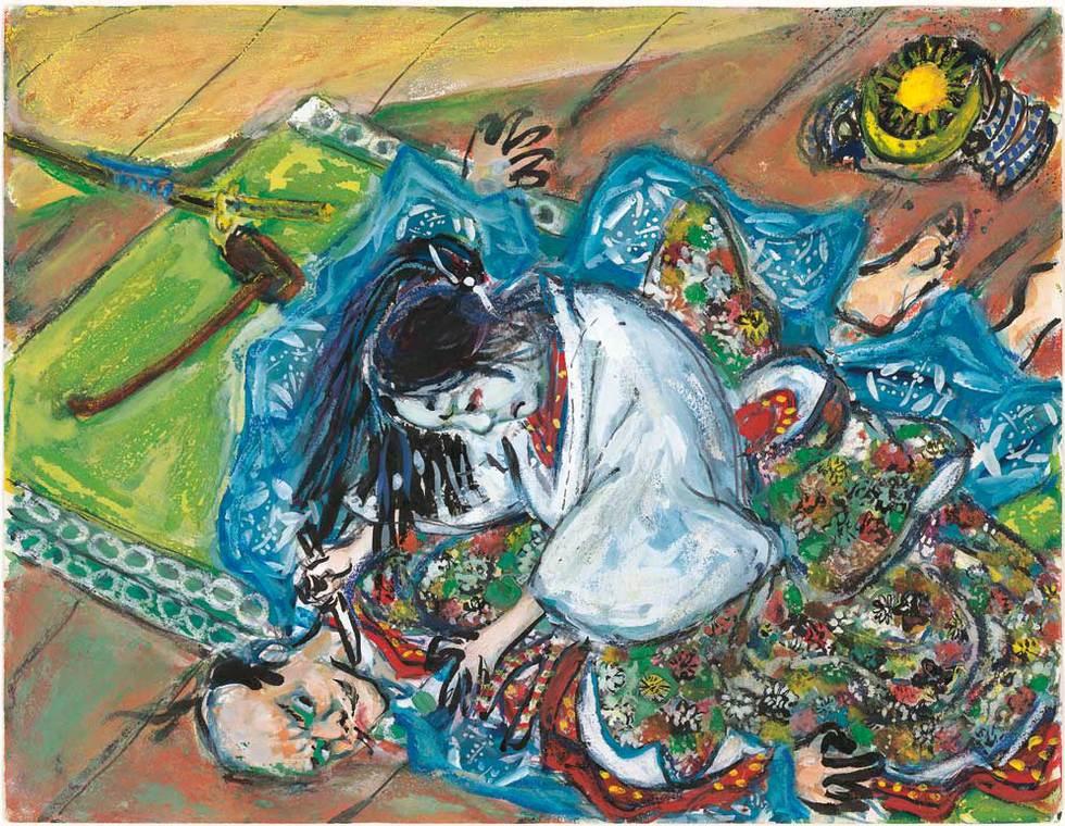 """La exposición La mirada del samurái: los dibujos de Akira Kurosawa permanecerá en el Museo ABC hasta el 12 de junio. En ella pueden contemplarse dibujos como este, que luego plasmó en Ran (1985), una de sus películas más célebres, una particular visión de El rey Lear de Shakespeare. La escena la llamó Torreón del primer castillo: Lady Kaede salta sobre Jiro. Con sus storyboards, Kurosawa concebía """"la imagen de cada escena"""" antes de rodarla. © Kurosawa Production Inc. Bajo licencia exclusiva de HoriPro Inc. TEXTO: M. M"""