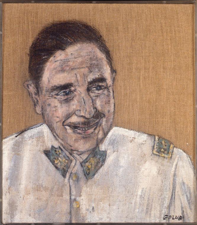 Retrato de un dictador. Una de las salas reúne sus retratos de dictadores, como este Pinochet, (1976) IV. COLECCIÓN HALL