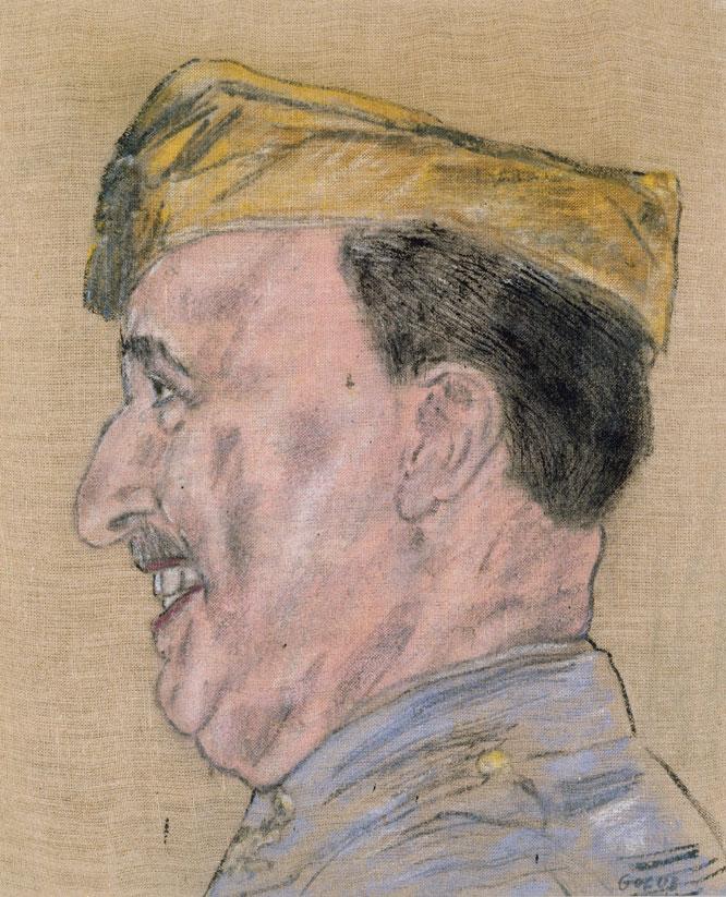 Entre los retratos sobre dictadores que pintó Golub en los setenta está la serie sobre Franco. Este, de 1976, muestra al personaje en el año 1940. En sus cuadros, los hombres poderosos parecen máscaras, seres sin vida. COLECCIÓN HARRIET Y ULRICH MEYER