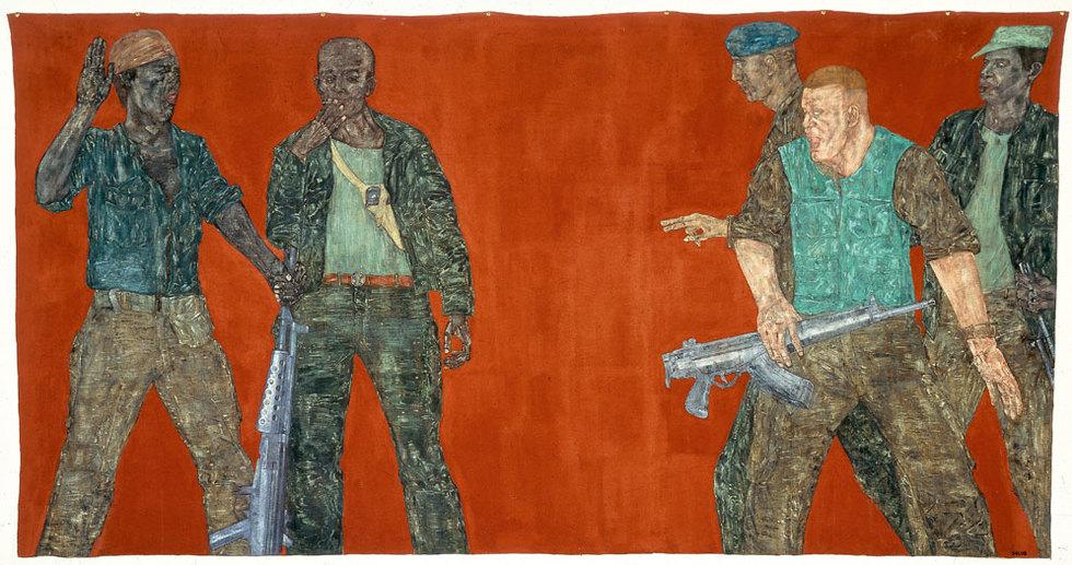 Golub plasmó los excesos de la política exterior estadounidense, sobre todo con obras que reflejaban su actuación en Centroamérica. Ese es el tema de Mercenarios IV, de 1980, uno de sus cuadros más célebres. COLECCIÓN HARRIET Y ULRICH MEYTER