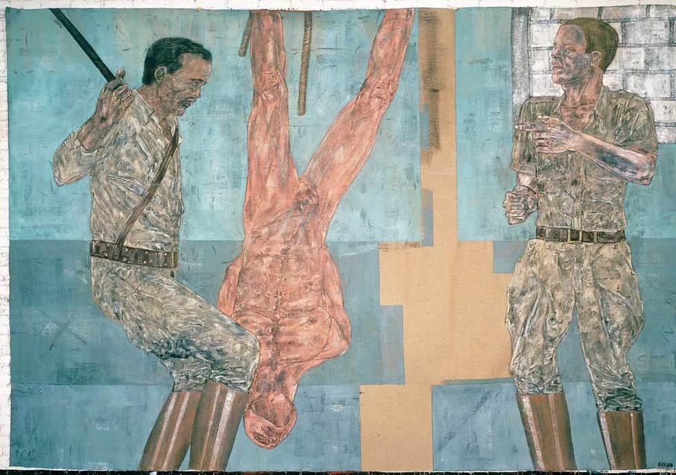 El interrogatorio. La muerte de Bin Laden pone de manifiesto la perpetua actualidad de las obras de Golub. Este cuadro de 1981 pertenece a su serie sobre interrogatorios. Los temas elegidos por este pintor dificultaron el reconocimienton de su valor. THE BROAD ART FOUNDATION