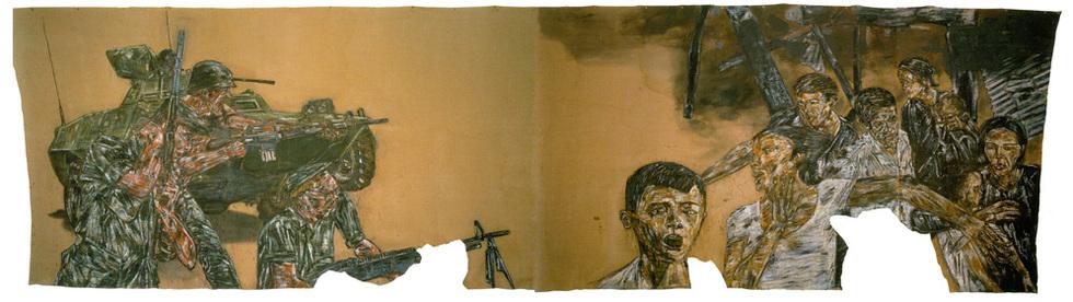 Vietnam. El artista nacido en Chicago era un consumidor masivo de información. El horror de la guerra de Vietnam ocupa una parte importante de su obra. Este enorme cuadro, de 1973, preside la sala principal de la exposición sobre Golub. (Cortesía de Harriet y Ulrich Meyer)