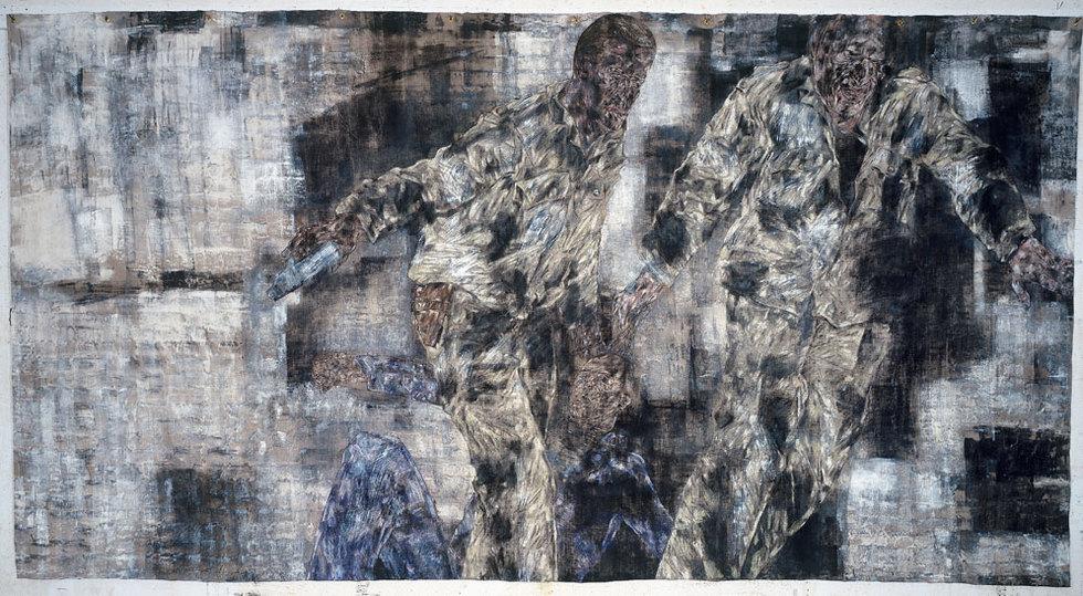 'El prisionero'. Mientras su salud se lo permitió Golub se implicó en cuadros de grandes dimensiones. El Prisionero, de 1989, (243,8 x 459,7) recoge uno de los temas favoritos del pintor. La violencia del poder y el dolor de quien lo sufre. (Colección Harriet y Ulrich Meyer).