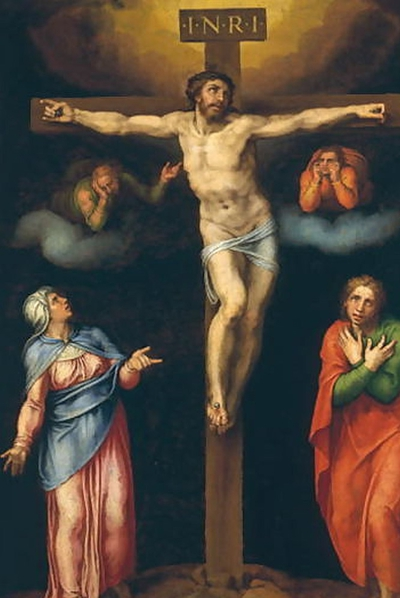 'La Crucifixión con la Virgen, San Juan y dos ángeles llorando', cuadro atribuido a Marcello Venusti y que el estudioso italiano Antonio Forcellino sostiene ser de Miguel Ángel.-