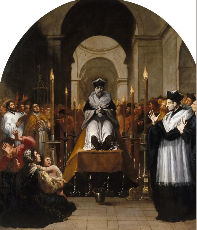 Conversión de san Bruno. El pintor italiano inicia su serie dedicada a la vida y milagros de san Bruno con la conversión a cartujo a raíz de ver cómo se castigaba a un hombre inocente. En este lienzo se puede observar la perfección de las proporciones y el uso de colores primarios.