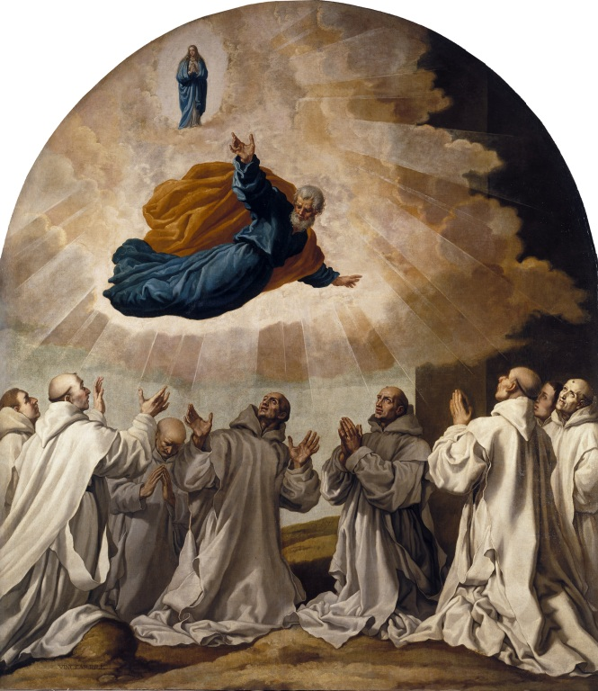 La virgen María y san Pedro se aparecen a los primeros cartujos. La diferencia entre el mundo superior, celestial, y el terrenal se puede apreciar en este cuadro que muestra una de las apariciones a los cartujos. El lienzo tuvo que ser restaurado fotográficamente debido a los grandes daños que sufría.