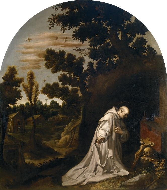 San Bruno reza en la soledad de la torre de Calabria. La vida de cartujo incluye el silencio de un retiro espiritual, el rezo por las personas perdidas y la meditación intelectual. Además, en este cuadro se puede apreciar el retrato del entorno que rodea las cartujas.