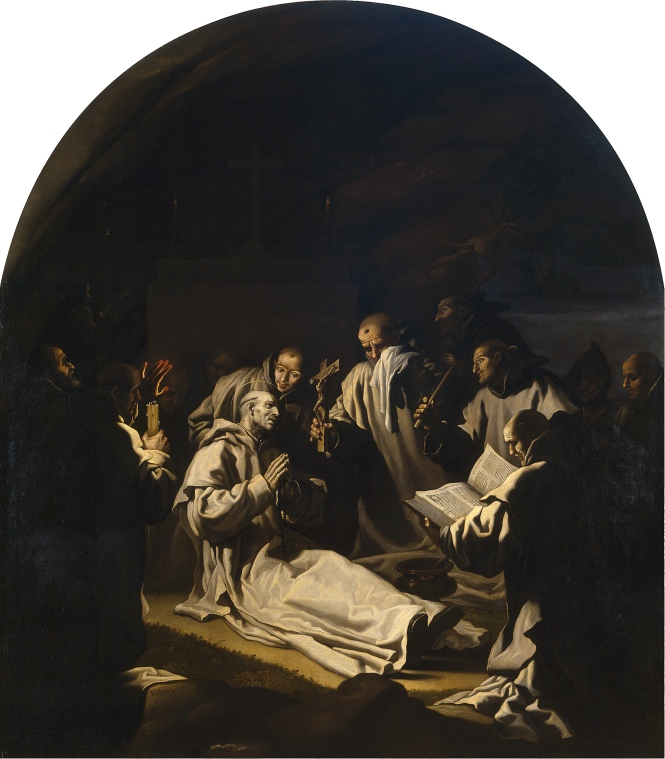 Muerte de San Bruno. Con la pintura de la muerte de san Bruno Carducho imitó los métodos de Caravaggio y mostró su capacidad para utilizar todas las técnicas renacentistas.