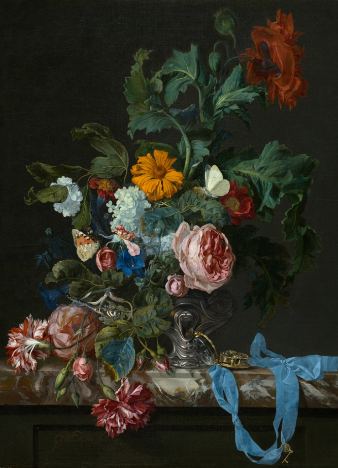 Naturaleza muerta con reloj. Willem van Aelst (1627-c.1683), 'Flower Still Life with a Watch', 1663. MAURITSHUIS MUSEUM