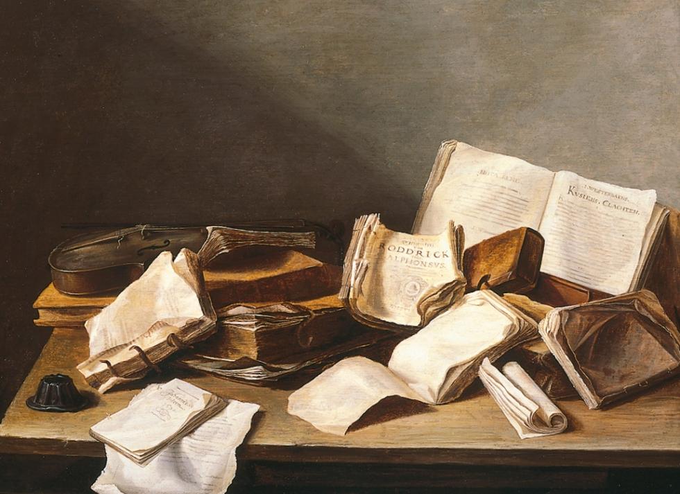 Naturaleza muerta con libros y violín. Jan Davidsz de Heem (1606-1683/84), 'Still Life with Books and a Violin', 1628. MAURITSHUIS MUSEUM