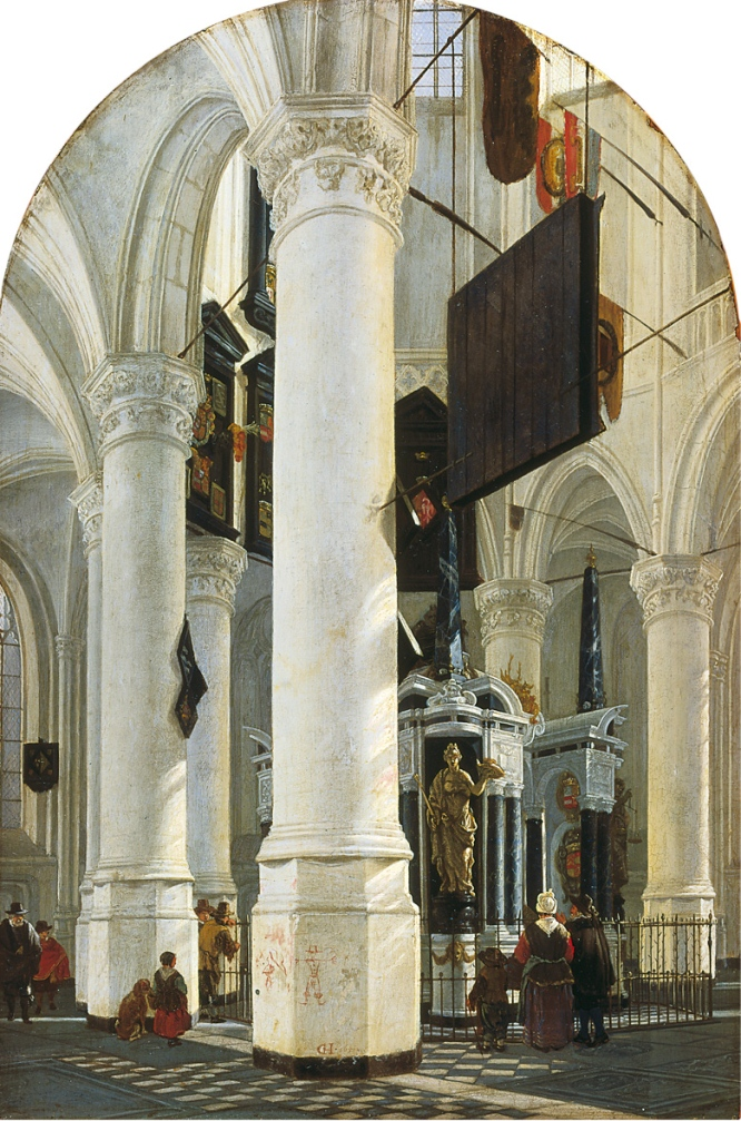 El Mausoleo de Guillermo de Orange en la Iglesia Nueva de Delft. Gerard Houckgeest (1600-1661), 'The Tomb of William the Silent in the Nieuwe Kerk in Delft' (Holanda), 1651. MAURITSHUIS MUSEUM