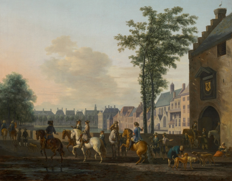 Partida de caza cerca del estanque mayor de La Haya. Gerrit Adriaensz Berckheyde (1638-1698), A Hunting Party near the Hofvijver in The Hague, Seen from the Plaats, c.1690.  MAURITSHUIS MUSEUM