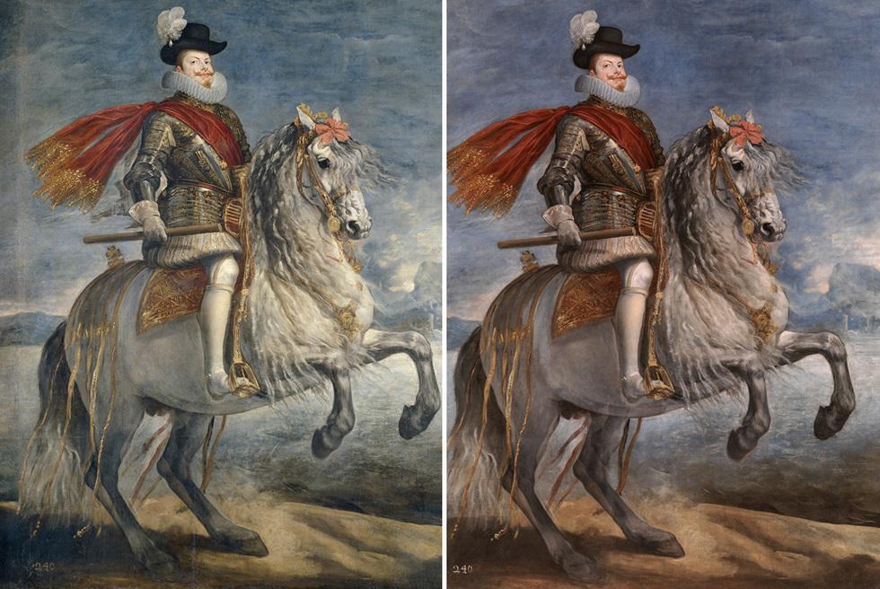 El Museo del Prado ha presentado algunas de las restauraciones más singulares concluidas este año. Un buen ejemplo es este Felipe III a caballo, de Velázquez. A la izquierda, el óleo de tres metros antes de la restauración, a la derecha, tras el arreglo.