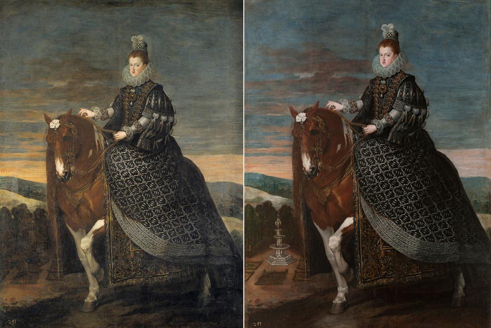 Gabriele Finaldi, director adjunto de Conservación del Museo Prado, ha sido el encargado de presentar los espectaculares cambios que han mejorado varias grandes obras de la pinacoteca. La reina Margarita de Austria a caballo, de Velázquez, es otro buen ejemplo.