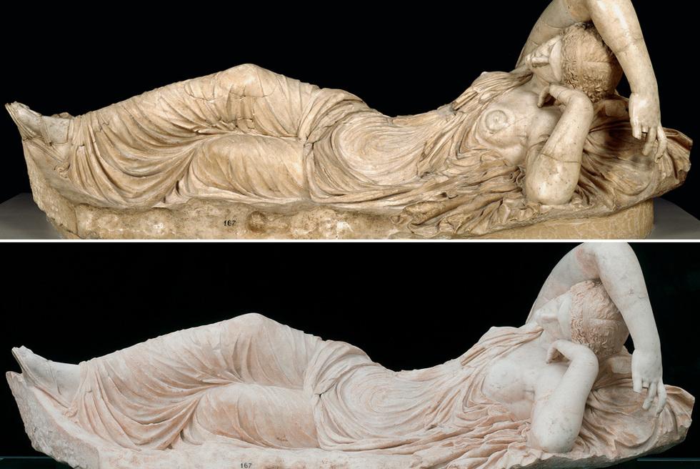 Arriba, Ariadna (antes de la restauración), obra anónima en mármol del siglo XVIII. Abajo, después de la restauración.