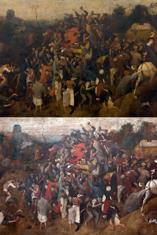 EL ANTES Y EL DESPUÉS. El cuadro llegó al Prado en un estado muy deteriorado (arriba a la izquierda). Tras casi dos años de trabajo, la pieza ha recobrado su esplendor.- JAMES RAJOTTE