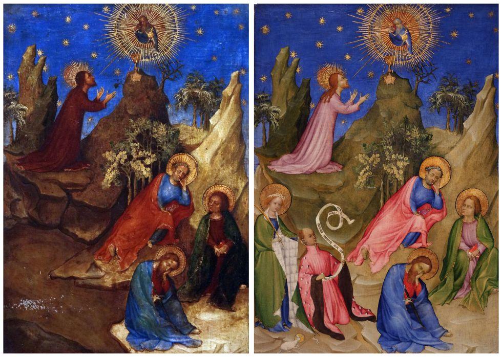 El antes y el después de 'La oración en el huerto': un repinte ocultaba las figuras de Luis I de Orleans y Santa Inés en la parte inferior izquierda