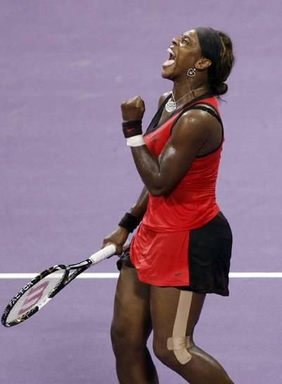 Serena Williams, celebrando un punto en su primer partido