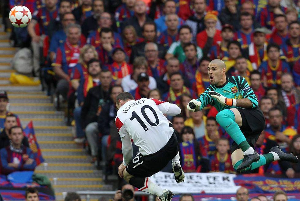 Barcelona - Manchester United  - Valdés, ante Rooney