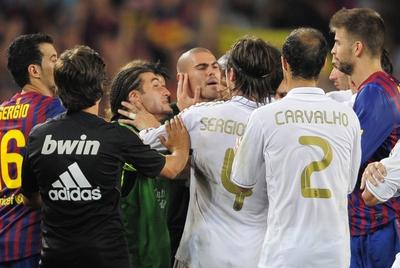 Enfrentamientos durante el partido