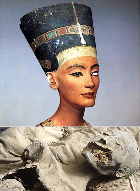 La supuesta momia de Nefertiti y el célebre busto de la reina